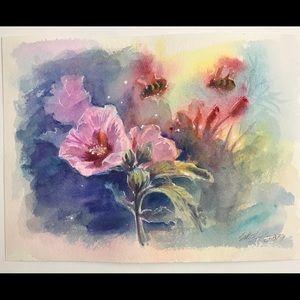 Original painting hibiscus flowers Honeybee Art